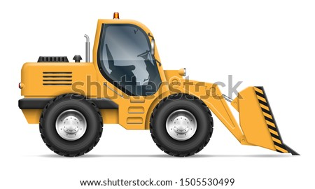Wheel loader view from side isolated on white background. Construction and mining vehicle vector template, all elements in the groups on separate layers for easy editing and recolor ストックフォト ©