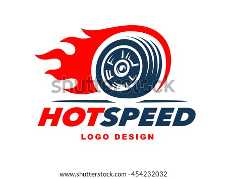 wheel logo fast speed with a