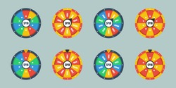 Wheel of fortune. Circle spin vector background. Isolated vector illustration. Modern vector illustration. Vector leisure background template. Set of different roulette.