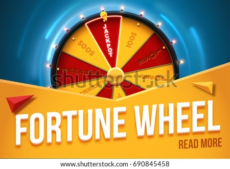 wheel of fortune 3d object isolated on blue background place for text