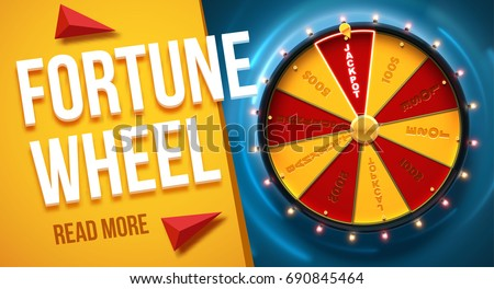 wheel of fortune 3d object isolated on blue background place for text ストックフォト ©