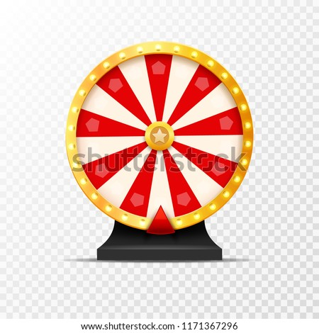 Wheel Of Fortune lottery luck illustration isolated. Casino game of chance. Win fortune roulette. Gamble chance leisure.