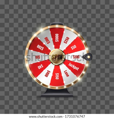 Wheel of Fortune to play and win the jackpot isolated on transparent background. Roulette of luck. Win fortune roulette. Big win. Vector illustration