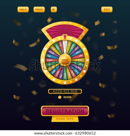 Wheel of fortune with buttons registration and menu, help for gamble casino user menu interface or UI web design. Betting and gambling, winner and risk game