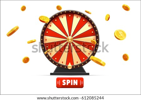 wheel of fortune with gold coins 3d object isolated on white