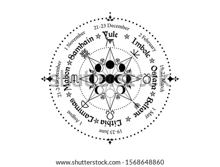 wheel of the Year is an annual cycle of seasonal festivals. Wiccan calendar and holidays. Compass with triple moon Wicca pagan goddess and moon phases symbol, names in Celtic of the Solstices Stock photo ©