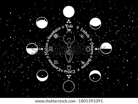 Wheel of the Year, order of the Wiccan holidays, as the replica of the phases of the Moon and spiral goddess of fertility, wicca woman sign, vector isolated on black starry sky background Stock photo ©
