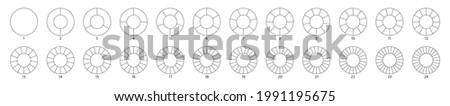 Wheel round diagram part big set. Segment slice sign. Circle section graph line art. Pie chart icon. 2,3,4,5,6 segment infographic. Five phase circular cycle. Geometric element. Vector illustration.