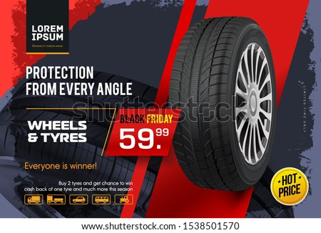 Wheel sale. Black Friday. Advertising poster, brochure, billboard, booklet. Realistic vector car tyre . Seasonal sale of wheels. Web page design of car service.