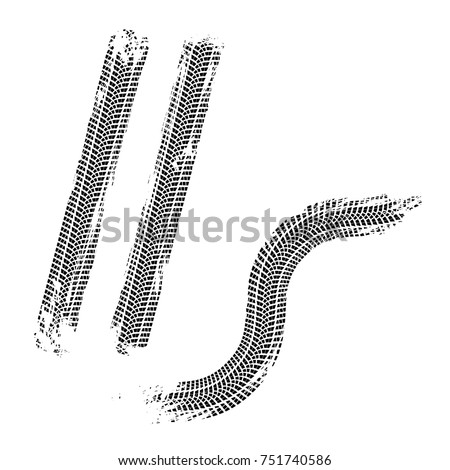 Wheel traces brushed marks vector illustration.
