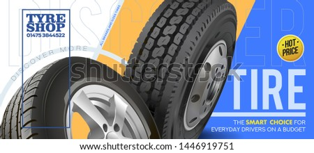 Wheel truck and car. Flyer. Advertise wheels for summer and winter. Promotion. Discount. Outdoor advertising vehicle wheels. Advertising for magazine, newspaper. Promotion for the sale of wheels with