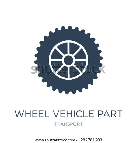 wheel vehicle part icon vector on white background, wheel vehicle part trendy filled icons from Transport collection, wheel vehicle part vector illustration