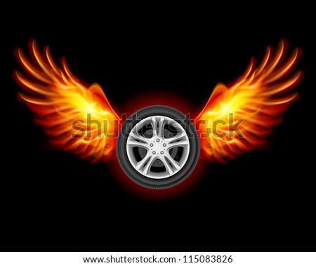 stock-vector-wheel-with-fire-wings-illustration-on-black