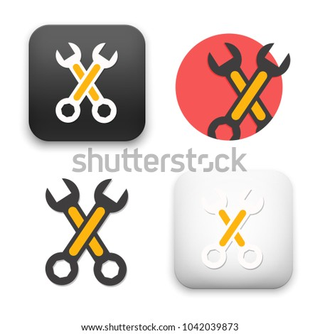 Wheel wrench or lug wrench icon. Flat style