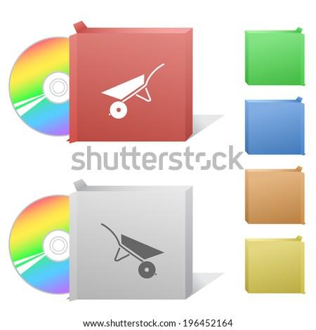 Wheelbarrow. Box with compact disc. Stok fotoğraf ©