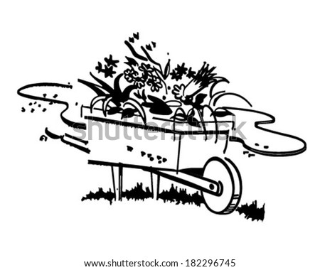 Wheelbarrow Full Of Flowers - Retro Clip Art Illustration