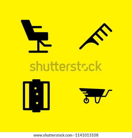 wheelbarrow, hair salon, hair salon and hair salon icons set. Vector graphic design for web and application