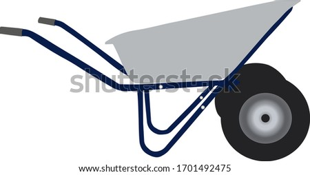 Wheelbarrow in profile with blue handles