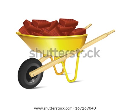 wheelbarrow with bricks