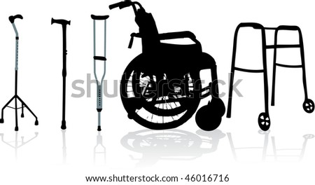 wheelchair and crutches-vector illustration