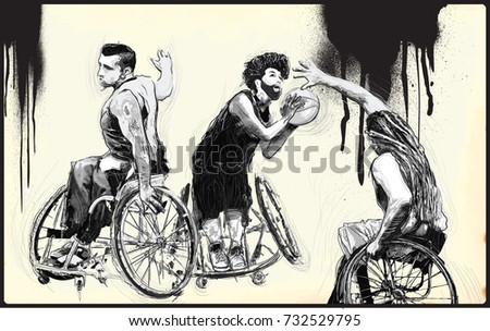 WHEELCHAIR BASKETBALL. From the series SILENT HEROES - Athletes with physical disabilities. An hand drawn vector. Note - Any accurate photo original for this picture, original is created by me.