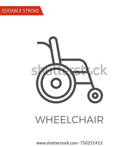 Wheelchair Thin Line Vector Icon. Flat Icon Isolated on the White Background. Editable Stroke EPS file. Vector illustration. Photo stock ©