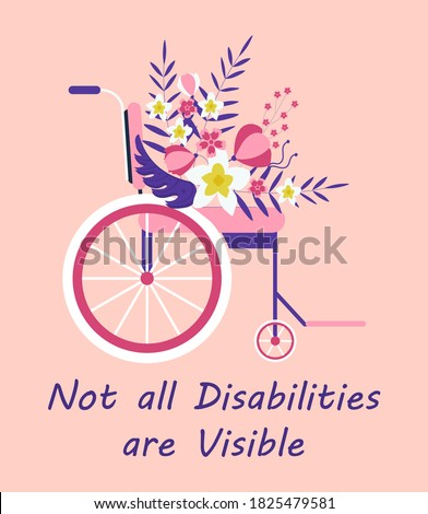 Wheelchair with tropical flower concept vector. International day of disabled persons illustration. Invisible disabilities awareness week, month.