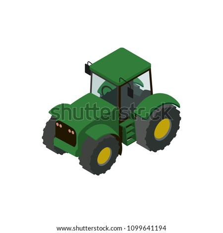 Wheeled green tractor isometric 3D element. Agricultural machinery for field work vector illustration. Rural industrial farm technics, comercial transport.