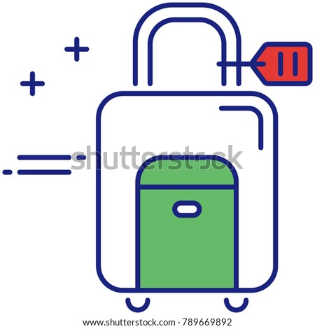 Wheeled luggage vector icon for traveling. Rolling suitcase for trip concept illustration. Baggage for sale.