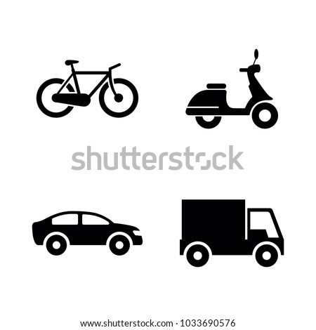Wheeled Vehicles Transport. Simple Related Vector Icons Set for Video, Mobile Apps, Web Sites, Print Projects and Your Design. Black Flat Illustration on White Background.