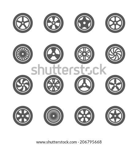 Wheels icons set.