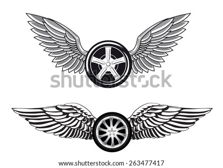 wheels with outstretched wings