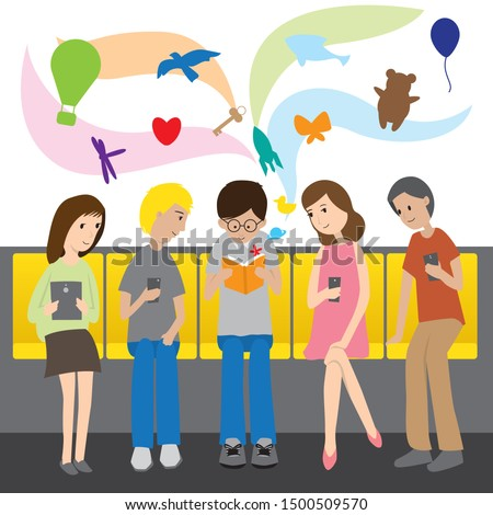 When you read a book you'll have imagination more than you can see them all in mobile phone or tablet so everyone  in this picture interest in that yellow book.