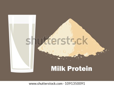 Whey protein powder and glass of milk. Vector illustration. Bodybuilding supplement concept.