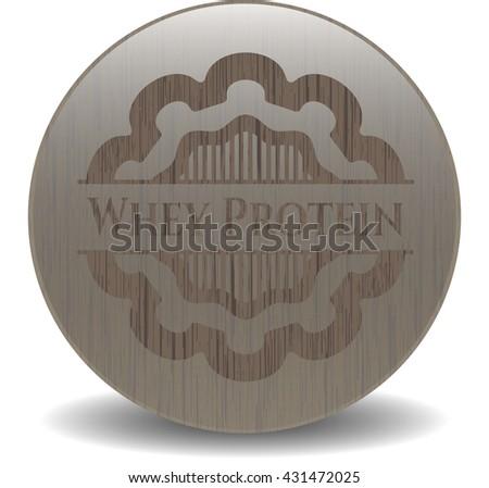 Whey Protein vintage wooden emblem