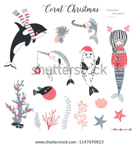 Whimsical Christmas clip arts set