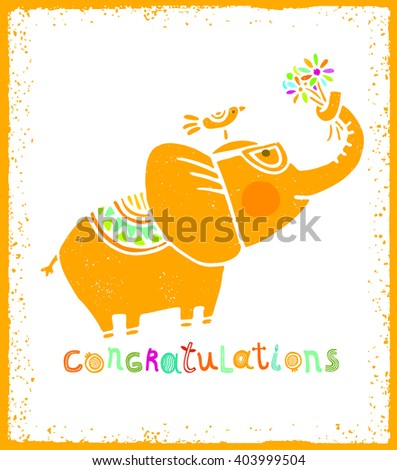 Whimsical Congratulations Greeting Card Concept. Elephant With Flowers In His Trunk And Bird Funny Illustration - Shutterstock ID 403999504