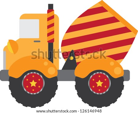 Whimsical construction cement truck with red and yellow stripes and fun stars on the wheels.