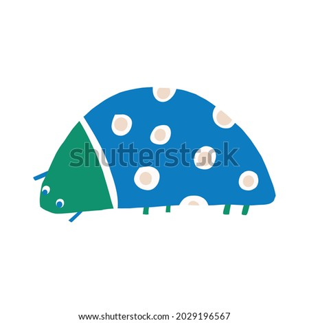 Whimsical cute doodle bug shape motif. Modern trendy minimalist style icon clip art. Fun unusual color elements isolated on white. Retro childish design symbol for gender neutral illustration elements