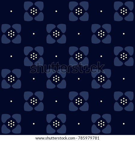 whimsical flowers on a navy