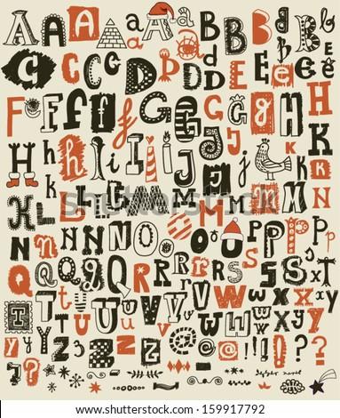 whimsical hand drawn alphabet