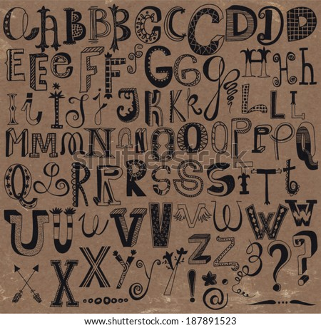 """Whimsical Hand Drawn Alphabet Letters and Keystrokes - Doodle alphabet sets with  question marks, exclamation points, stars, """"at"""" signs, dashes etc."""