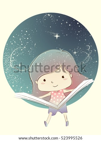 Whimsical Illustration of a Cute Little Kid Reading a Storybook in Outer Space