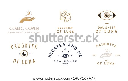 Whimsical logo bundle, mystic hand logos
