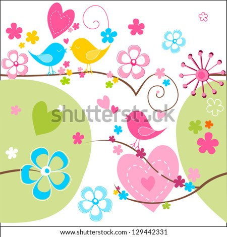 Whimsical seamless background in green, blue yellow and pink with cute birds, flowers and hearts.