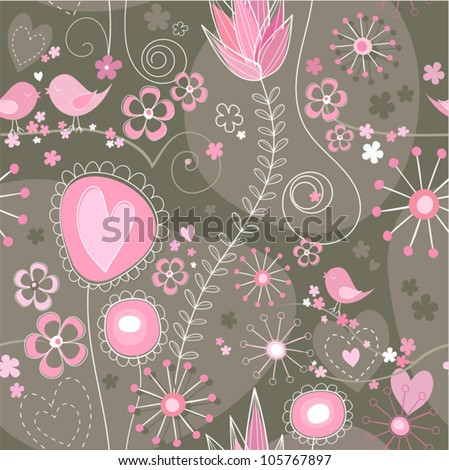 Whimsical seamless background in grey, brown and pink with cute birds, flowers and hearts. - stock vector