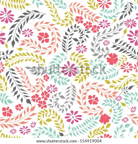 Whimsical seamless floral colorful doodles pattern on white background. Vector hand drawn illustration.