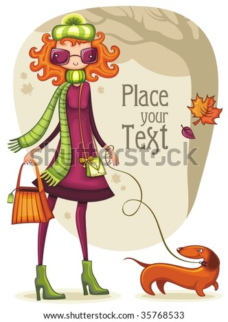 whimsical shopping girl with