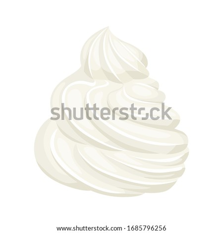 Whipped cream isolated on white background. Vector illustration of dessert in cartoon flat style. Food icon. ストックフォト ©