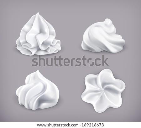 Whipped cream, vector icon set ストックフォト ©